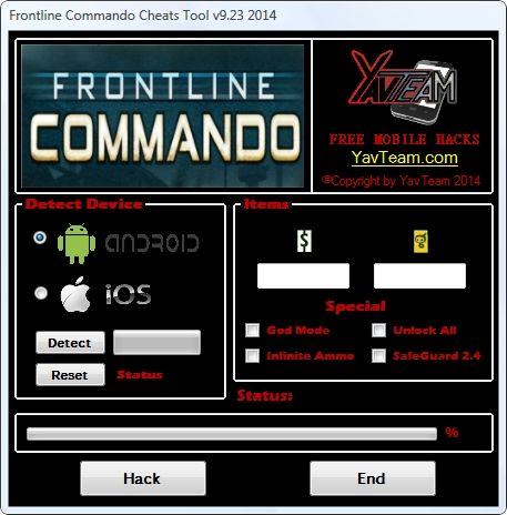 Frontline Commando Cheats Tool v9.23 2014 for Android/iOS. Working without problems. Download here! The Best Cheats only from YavTeam. http://www.yavteam.com/frontline-commando-cheats-tool-v9-23-2014/