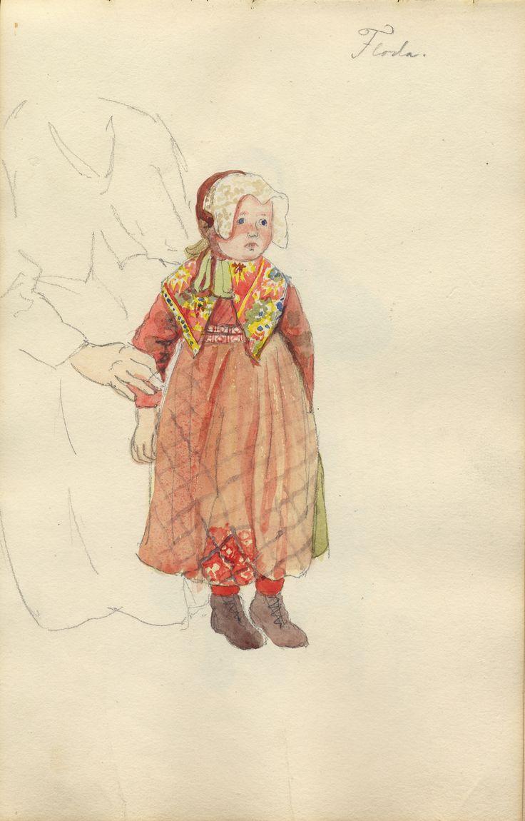 Akvarell. Liten flicka från Floda i Dalarna.