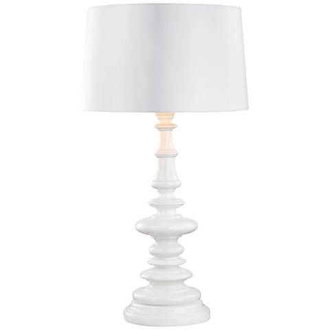 Corsage Gloss White with White Shade Outdoor Table Lamp