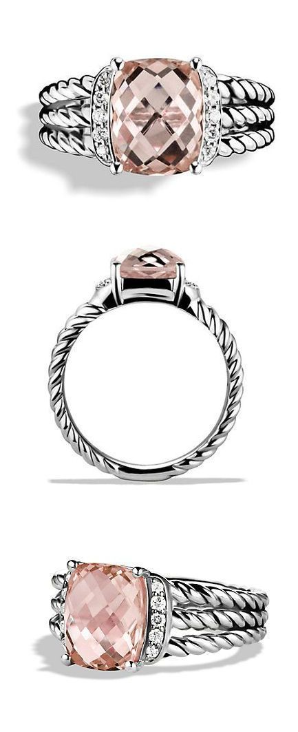 Morganite + Diamond Ring ❤︎ I love my David Yurman. This would look great as a right hand ring!
