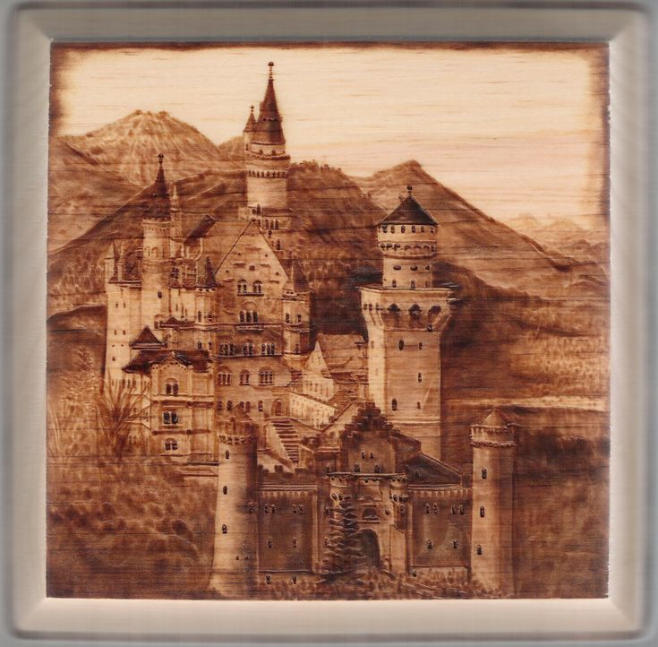 """Wood burning by Colleen Jess, Neuschwanstein Castle, 7"""" square, SOLD"""