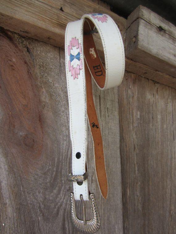 80s White Nocona Southwestern Belt, 29-34 in, 76-86 cm // White Inlay Lace Leather Belt // Slim Western Belt