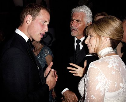 PRINCE WILLIAM, JAMES BROLIN & BARBARA STREISAND The Duke of Cambridge chatted up the legendary couple inside L.A.'s Belasco Theater at BAFTA's Brits to Watch 2011 gala July 9th