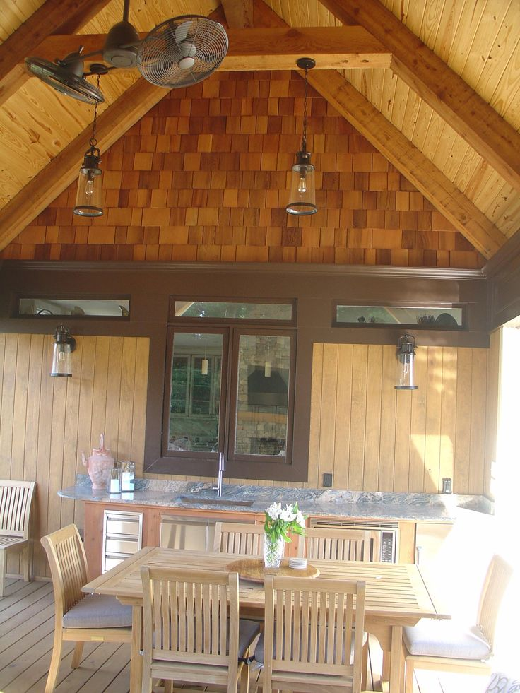 Covered Porch And Outdoor Kitchen With Cedar Shake Cedar