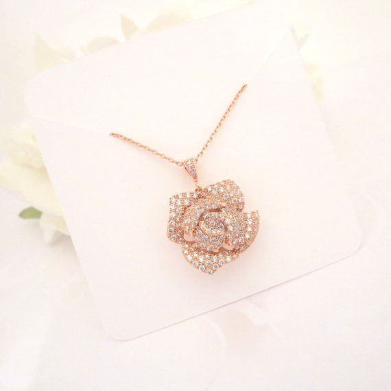 Rose Gold Bridal necklace Rose Gold pendant $50.00 by TheExquisiteBride