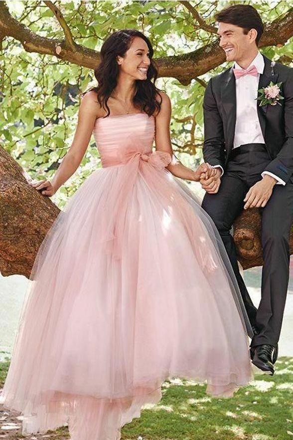New Arrival Strapless Tulle Pink Wedding Dresses, Elegant Pink Bridal Dresses