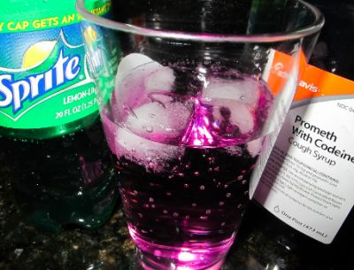 Strength cough syrup containing codeine and promethazine is mixed with sodas like Sprite or Mountain Dew, and the sweetness enhanced with Jolly Rancher candies.