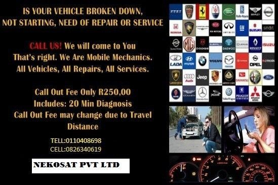 We come to your home, office, roadside,work-site etc Call us for reliable and affordable service when you getstuckanywhere with car problems! No need to tow we fix it there.Call out fee only:R250 Hourly Rate: Affordable per hour rate for breakdowns car Startingproblems, battery, clutch ,overheating etc CALL-OUT FEE:R 250 CALL :MO:0826340619