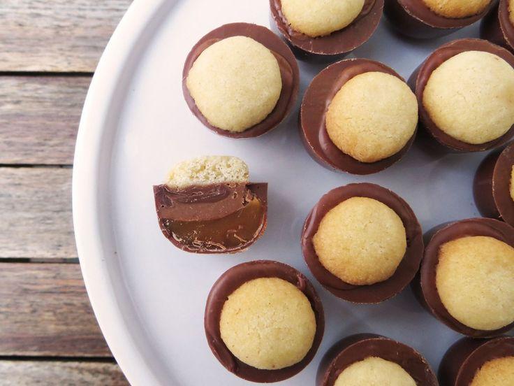 Fyldte mælkechokolader med shortbread