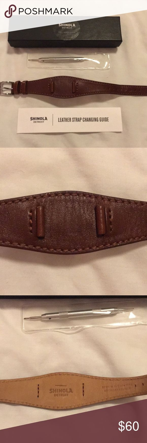 Shinola 14mm Brown Leather Watch Strap Shinola Detroit brown leather watch strap. Size 14 mm. Like new. Comes with box, changing tool, and directions. Silver buckle. Shinola Accessories Watches