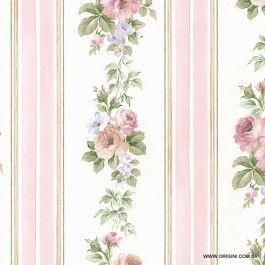 Papel de parede Decoração Floral Origini 26-51, Wallpaper, Importado, Lavável, Superfície lisa, Branco, Rosa e Verde