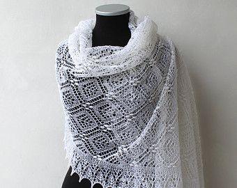 White wedding lace shawl, Haapsalu bridal stole