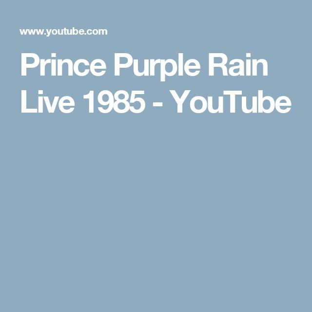 Prince Purple Rain Live  1985 - YouTube