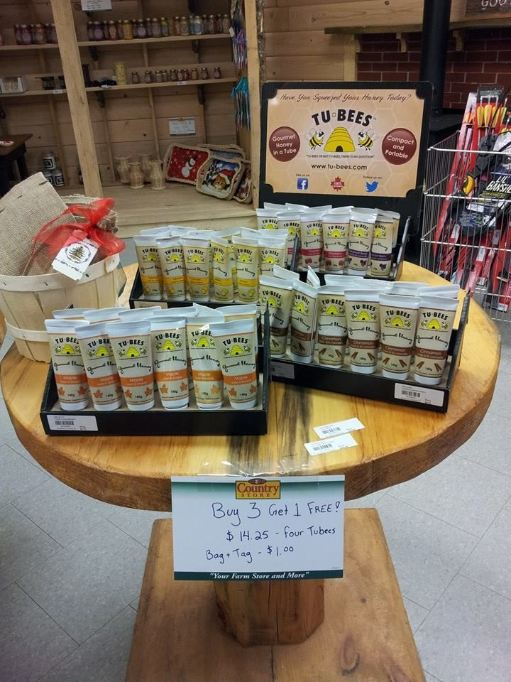 Tu-Bees flavored honey in a squeezable tube, great for traveling.