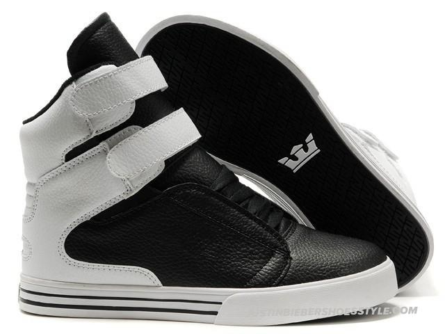 Supra TK Society Black White Leather Mens High Tops