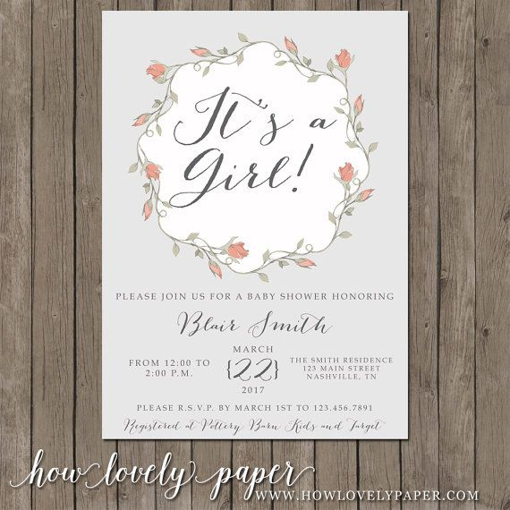 Printable Baby Shower Invitation  the Blair by HowLovelyPaper