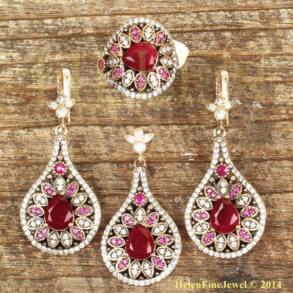 Hurrem Sultan Set Tear Drop Shape Ruby  Color by helenfinejewels, $77.00