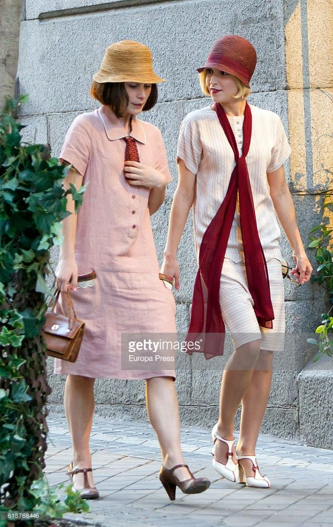 Ana Fernandez (R) and Nadia de Santiago are seen during the set filming of the Netflix serie 'Las Chicas del Cable' on October 27, 2016 in Madrid, Spain.