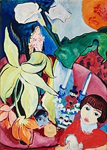 Sigrid Hjerten (1885-1948): Gosse vid blomsterbordet, 1916
