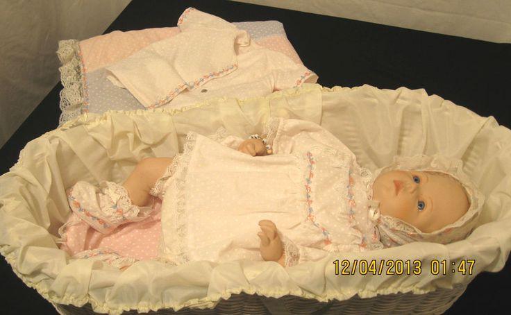 VINTAGE 9 PIECES Porcelain BABY  doll /cloth body 1988 MBI/ WICKER CRADLE