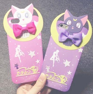 Sailor Moon iPhone Cases ~ Artemis(pink) & Luna(purple)