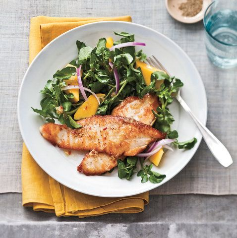 Seared Tilapia With Watercress-Mango Salad | RealSimple.com