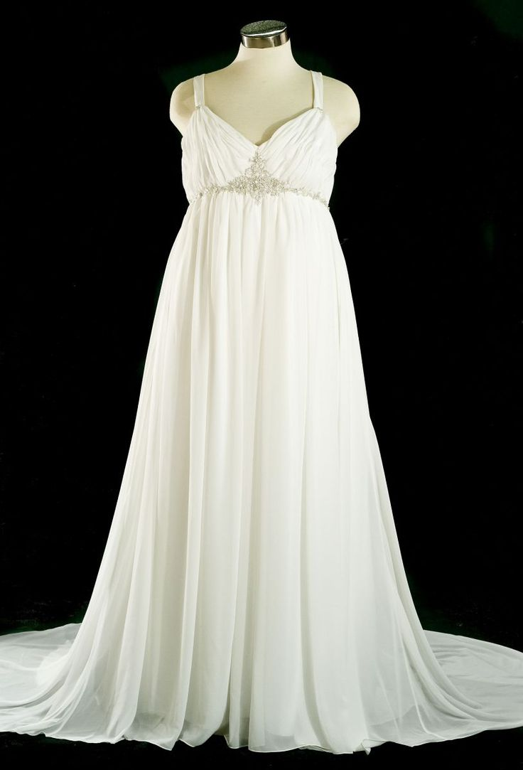 Plus size womens 20s wedding dresses plus size chiffon for Beach wedding dresses for plus size
