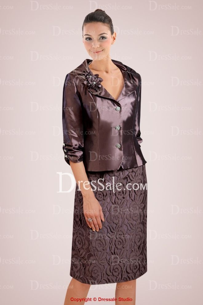 Imposing Taffeta Short Mother of Bride Dress with Exquisite Lace Overlay and Floral Detail