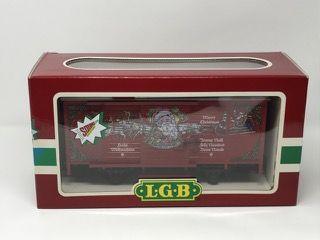 LEHMANN-GROSS-BAHN LGB 4335S CHRISTMAS BOX CAR WITH SOUND. ORIGINAL BOX INCLUDED