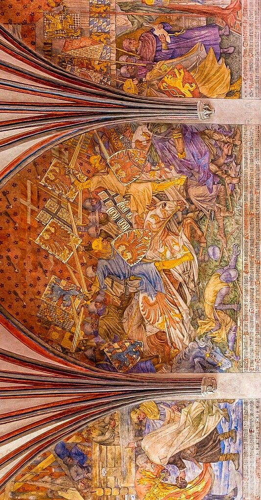 Fresco in the Malbork castle Poland - Malbork Castle Teutonic Order, Poland is the largest castle in the world by area and the largest brick building in Europe. The castle was built in Prussia by the Teutonic Knights, a German Roman Catholic religious order of crusaders as a fortress of the order #fresco#castle#malbork#poland#prussia#teutonicknights#europe#medieval#medievalcastle#interior#architecture