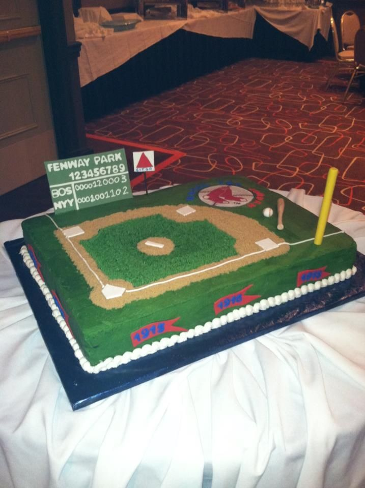 Fenway Park / Red Sox Bar Mitzvah Cake - 18 x 24 Sheet Cake covered in Buttercream.  All accent pieces are made out of Fondant.