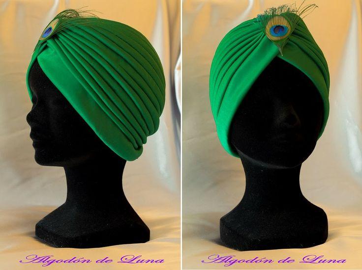 Turbante verde.Una invitada a cualquier ceremonia especial y única.Tendencia 2014 en tocados y complementos para la cabeza algodondeluna@gmail.com o 606619349