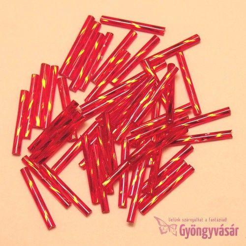 Ezüst közepű piros, 20 mm-es cseh szalmagyöngy (10 g) • Gyöngyvásár.hu