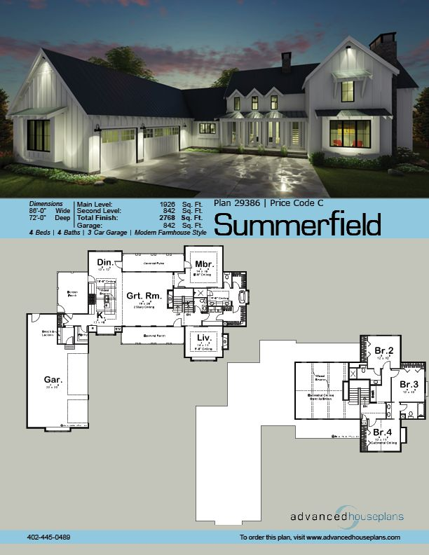 Our normande modern farmhouse floor plan is perfect for families with its open concept living space main level master bedroom and 3 additional be