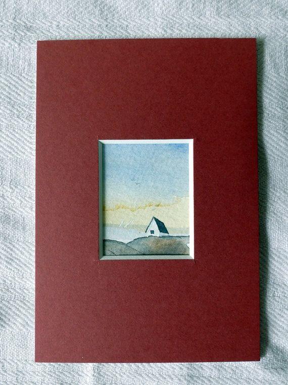 Landscape seaside painting original mini watercolor by IlseHviid
