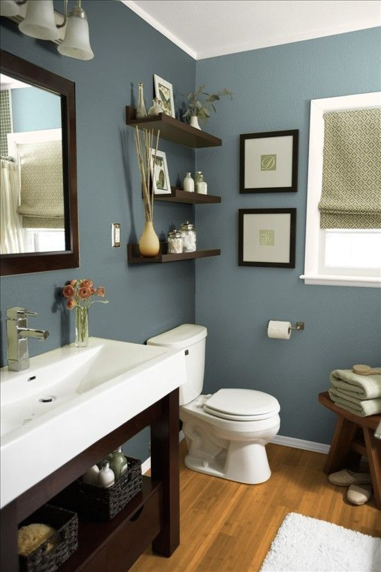 nice Mountain Stream by Sherwin Williams. Beautiful earthy blue paint color for bathrooms, especially when paired with dark woods and whites.