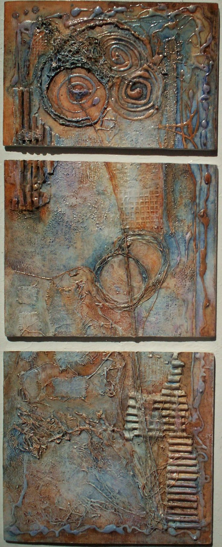 Textures1 triptych - acrylic glazes on highly textured gesso