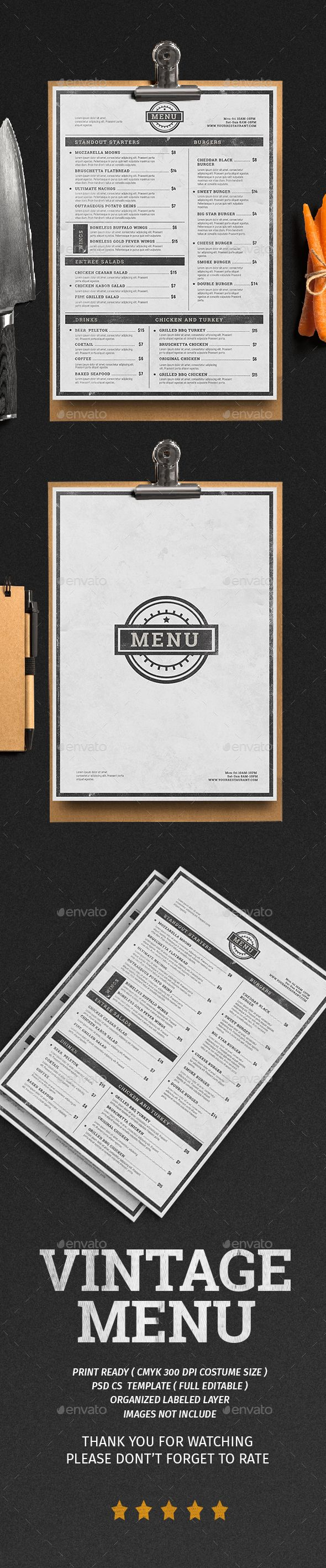 Vintage Menu  — PSD Template #restaurant #modern • Download ➝ https://graphicriver.net/item/vintage-menu/18458187?ref=pxcr