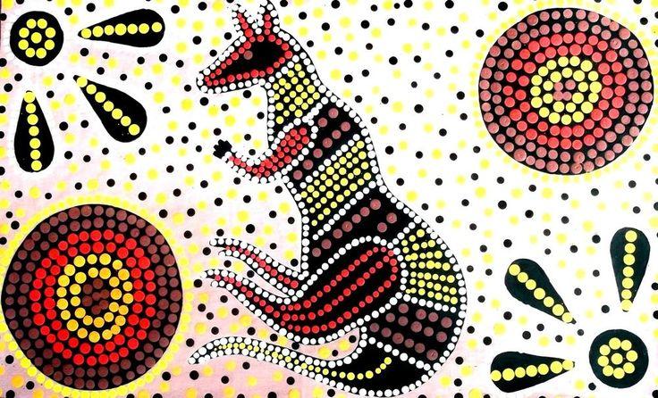 Australian dot painting,DESERT HEAT,80 x 50 cm ACRYLIC ON CANVAS,HAND PAINTED.