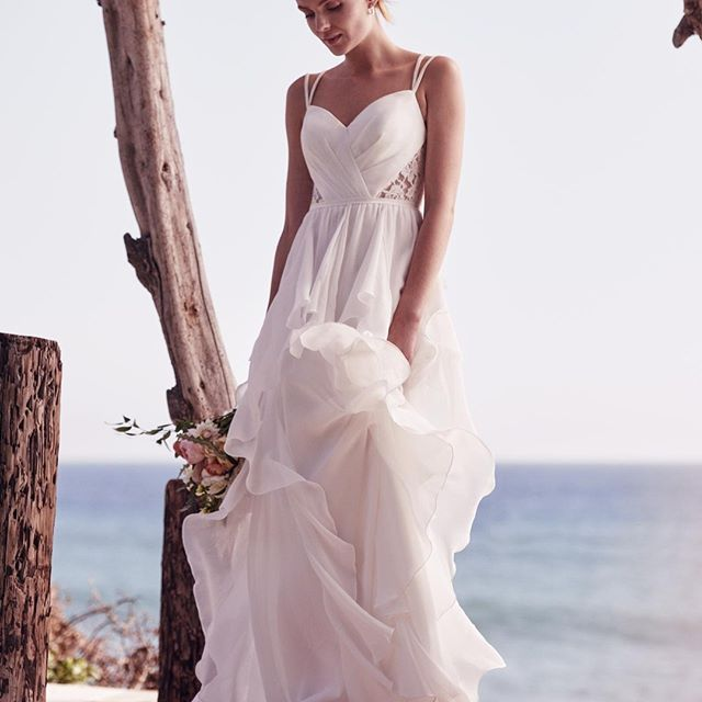 Destination Wedding Perfection!!! :revolving_hearts: :island:Ruffled Chiffon Wedding Dress with Lace Back   @DavidsBridal Spring 2017 . . . .