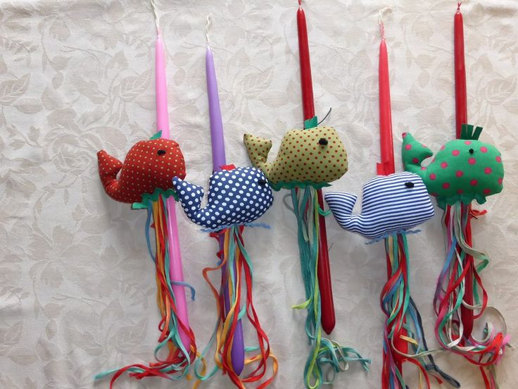 Handmade Easter Candles for Girls and Boys. Mobile Whales made by cloth. Cost 12€/piece.