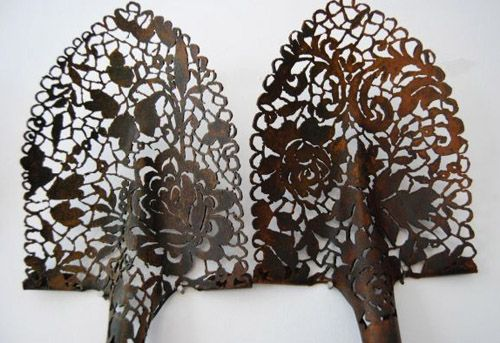 """CAL LANE an amazing artists who uses a plasma torch to """"carve"""" out old metal objects.   www.callane.com"""