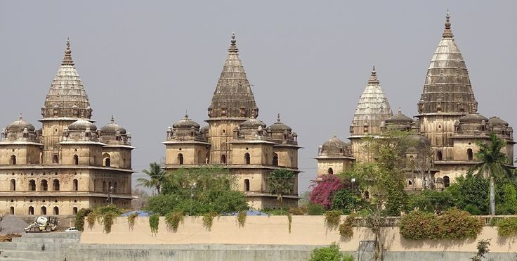 Chattris of Orchha as seen from other side of River Betwa.