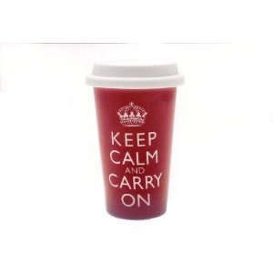 Keep Calm Carry On Double Walled Ceramic Travel Mug