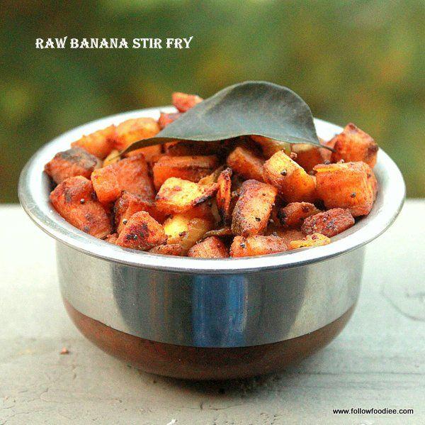 Healthy and Easy Fry made with Plantains . Raw Banana Fry Recipe goes well with rice #Plantain #Rawbanana #Vegan #Recipe