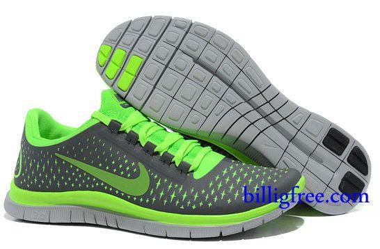 Attractive Nike Free Run Shoes Mens Grey Fluorescent Green Reflect Silver 12ec97e279