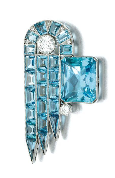 Aquamarine and diamond brooch, circa 1925