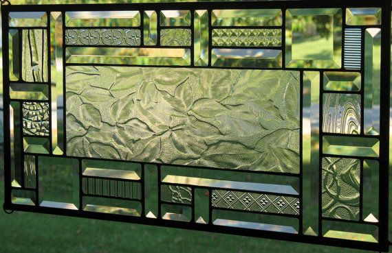 Clear Autumn Stained Glass Window Panel by Lindaleeglass on Etsy, $90.00