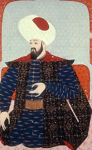 """Osman I, portrait from sixteenth century manuscript, H 1563, """"The Genealogy of the Ottoman Sultans"""", in the Topkapi Palace Museum, Istanbul, Turkey"""