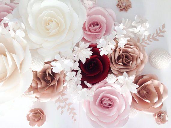 Paper Flower Backdrop - Paper Flower Wall - Paper Flower Nursery - Wedding Paper Flower Backdrop - Large Paper Flowers - Wedding Decor
